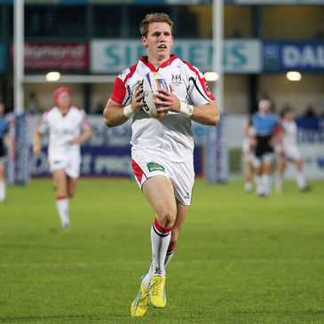 Craig Gilroy runs in Ulster's second try against Glasgow Warriors