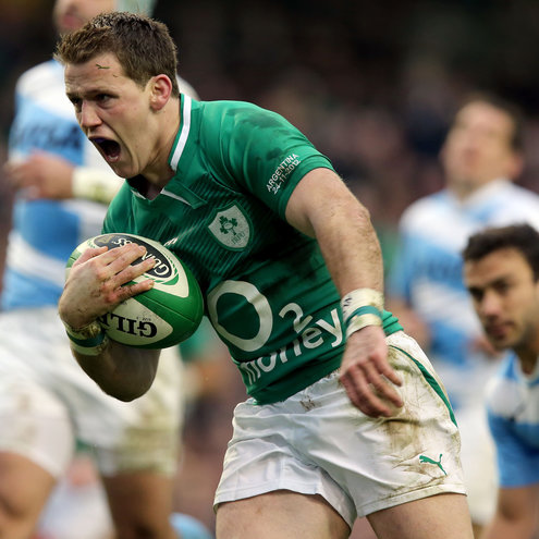 Craig Gilroy races through for Ireland's opening try