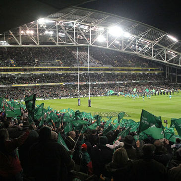 The fans cheer on Ireland at the Aviva Stadium