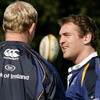 Leinster captain Leo Cullen has a chat with the province's recent signing Rocky Elsom