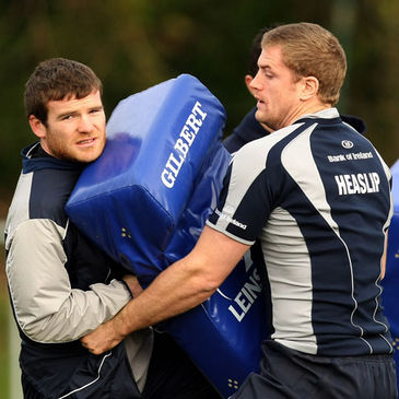 Leinster's Gordon D'Arcy and Jamie Heaslip