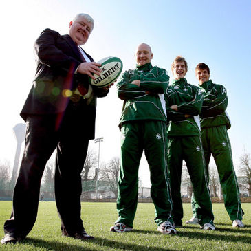 John R Bowen, chairman and CEO of The Bowen Group, is pictured with Ireland players Bernard Jackman, Andrew Trimble and Donncha O'Callaghan
