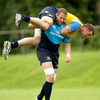 Experienced lock Damian Browne takes the weight of David Gannon during a training exercise in Longford