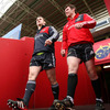 Forwards Damien Varley and Peter O'Mahony are pictured making their way out onto the Thomond Park pitch