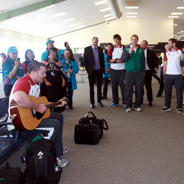 Damien Varley put on an impromptu performance at Rotorua Airport