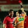 Munster ended the game with 14 players on the pitch after referee Dudley Phillips shown Damien Varley a red card