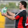Hooker Damien Varley prepares to throw the ball in at a lineout as Munster train at Saturday's match venue