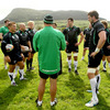 Dan McFarland gets his point across to the Connacht forwards, including hookers Ethienne Reynecke and Adrian Flavin