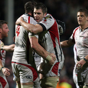 The Ulster players celebrate their victory over Leinster