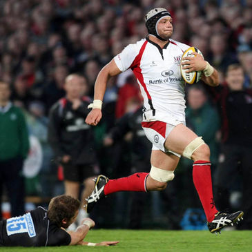 Second row Dan Tuohy races away to score Ulster's first try
