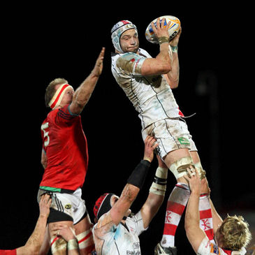 Dan Tuohy wins a lineout for Ulster