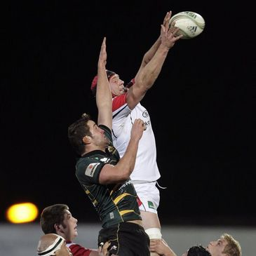 Dan Tuohy in lineout action for Ulster