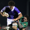 Connacht's Kiwi number 8 Ezra Taylor gets to grips with Samoa's Daniel Leo, who plays club rugby for London Wasps