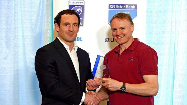 Award winner Daniel Riordan with Joe Schmidt