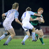 Bayonne centre Thibault Lacroix puts a tackle in on Connacht's Darragh Fanning, who was making his second Amlin Challenge Cup appearance