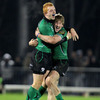 Darragh Fanning and man-of-the-match Eoin Griffin celebrate together after Connacht's famous win over the Samoans
