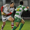 Ulster centre Darren Cave takes on Benetton Treviso's Ludovico Nitoglia during the opening minutes of the game