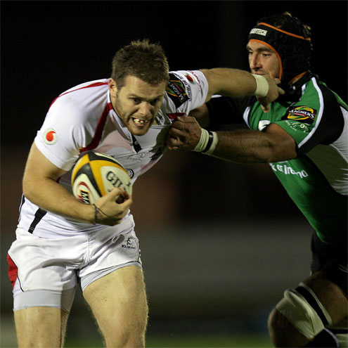 Ulster centre Darren Cave tries to get past Connacht's John Muldoon