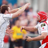Centre Darren Cave is first in to congratulate Rory Best after the Ulster captain opened the scoring at Ravenhill