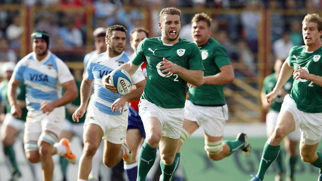 Darren Cave makes a break for Ireland