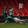 The English defence is stretched again as Ireland Under-20 winger Darren Hudson dives over to score the visitors' second try