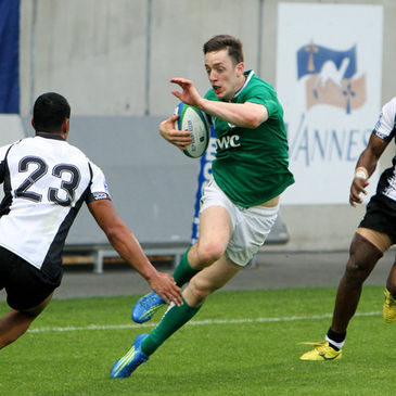 Darren Sweetnam makes a break for the Ireland Under-20s