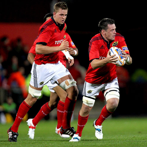 Munster's Dave Foley and James Coughlan