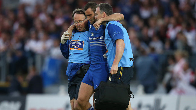 Dave Kearney is helped off the RDS pitch