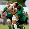 Connacht lock Dave Nolan, who suffered an unfortunate second half injury, is pictured tackling Exeter's Matt Jess