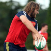 Dave Ryan, a younger brother of recently-departed Munster prop Timmy Ryan, takes part in a training drill