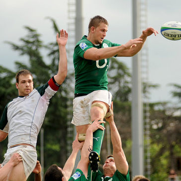 David Foley wins a lineout for Emerging Ireland