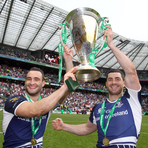 David and Rob Kearney with the Heineken Cup trophy