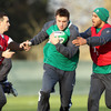 Uncapped duo David Kearney and Simon Zebo try to halt the progress of Tommy Bowe, who will wear the number 14 jersey against Wales