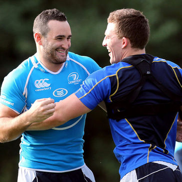 David Kearney and Andrew Conway enjoy a laugh at training