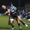 Benetton Treviso winger Michele Sepe does to stop Leinster's David Kearney just short of the try-line