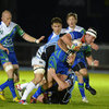A bandaged David McSharry, making his second start of the season for Connacht, is tackled by Glasgow Warriors captain Al Kellock