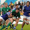 David McSharry, making his first start of the tournament, is pictured leading an Irish attack against the Samoans