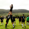Lock Dave Nolan is well-supported as he gathers a lineout ball in the picturesque Strandhill setting