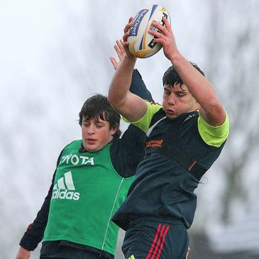 David O'Callaghan wins a lineout during training