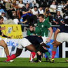 Second row David O'Callaghan tries to make the hard yards for Ireland during their narrow defeat to France