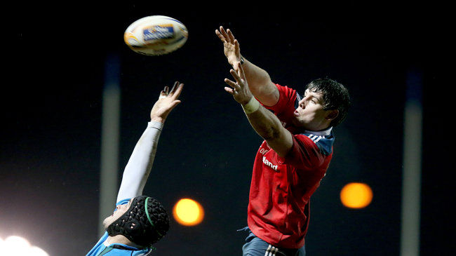 David O'Callaghan stretches to gather a lineout ball