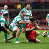 Flanker David Wallace dives on the ball to notch Munster's third try, on the stroke of half-time