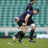 Flanker David Wallace flips a pass backwards as the players enjoy a light run-out at Twickenham