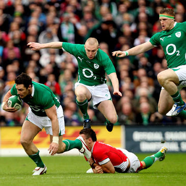 David Wallace carries the ball forward for Ireland