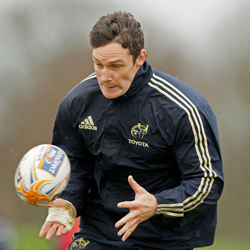 Flanker David Wallace training with the Munster squad