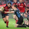 Munster flanker David Wallace tries to slice through the Glasgow defence during the second half