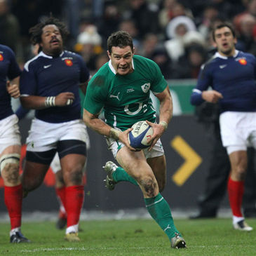 David Wallace breaks through for a try against France