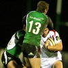 Alan MacDonald is challenged by Connacht's Mel Deane and Gavin Duffy as he takes the ball on