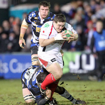 Prop Declan Fitzpatrick on the charge for Ulster