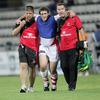Prop Declan Fitzpatrick had to be helped off the pitch after sustaining a leg injury early in the first half